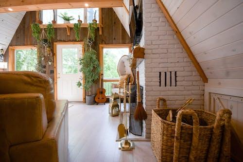 Brown Wooden Woven Basket on White Ceramic Floor Tiles