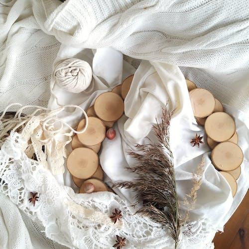 Wooden Wreath in White Knit Textiles