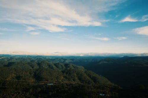 Aerial scenery of green valley with hills and trees under blue cloudy sky in summer day in nature