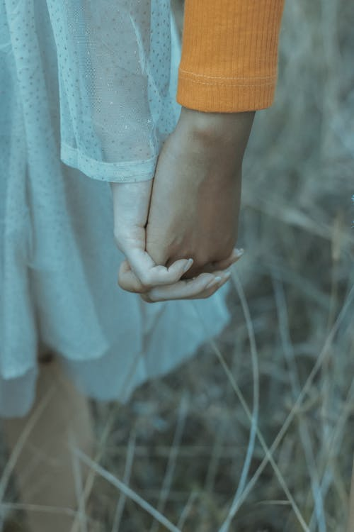 Crop anonymous couple in casual outfits holding hands while standing in field with dry grass