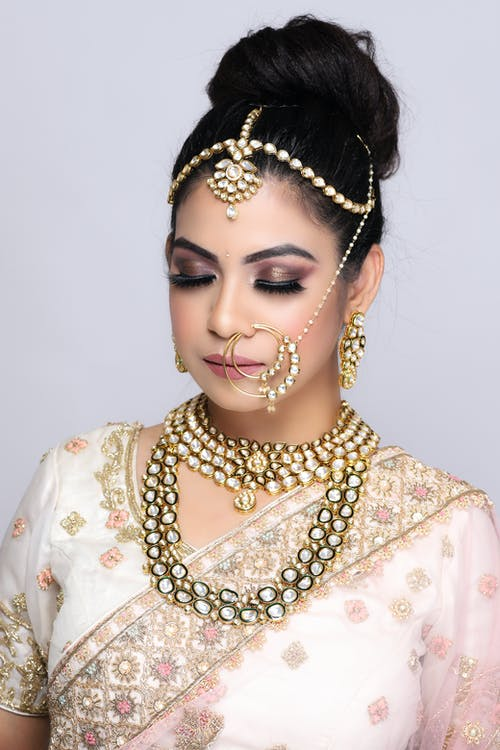 Ethnic woman in gorgeous Indian outfit