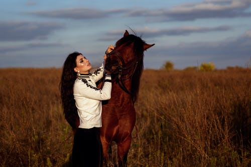 Woman caressing horse in grassy meadow in countryside