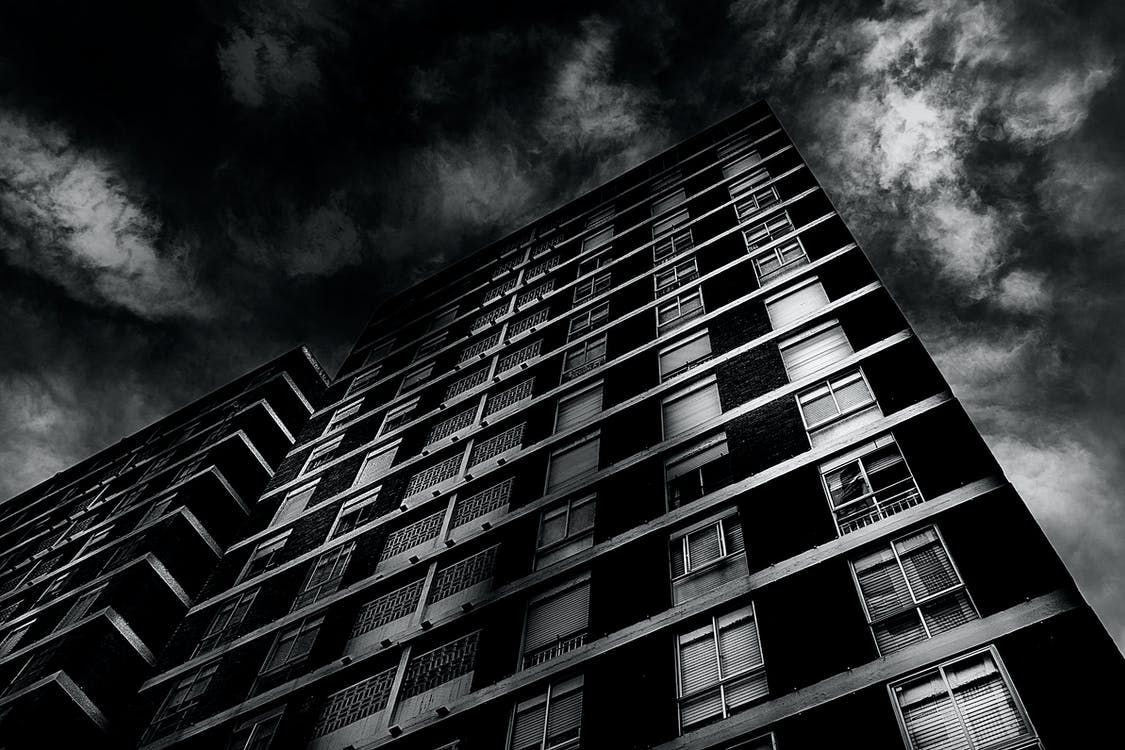 Free stock photo of apartment building, black and white, drama