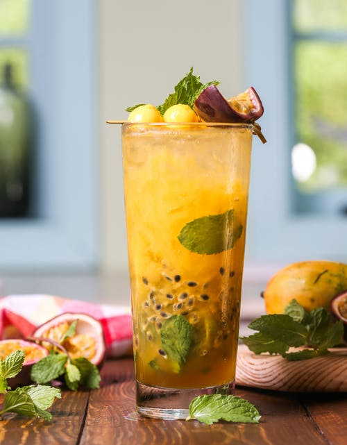 Fruity Juice With Mint Leaves and Sliced Lemon