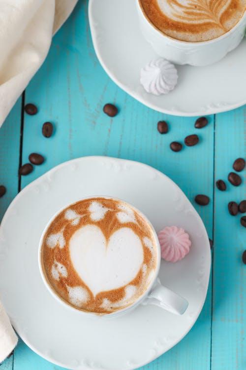 Top View Of Latte Art Coffee