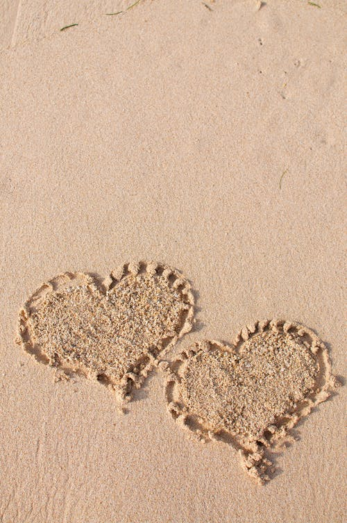 Heart Shaped Sand on Beach