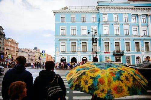 Crowd of people on city street
