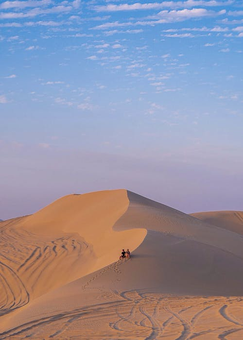 Unrecognizable tourists sitting on sandy hill in desert at sundown