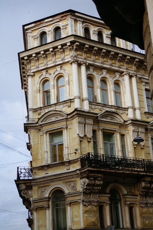 Corner of old classic building located in historic center of city