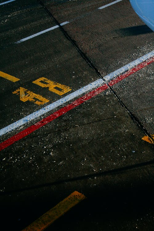Racing marking on asphalt road in stadium