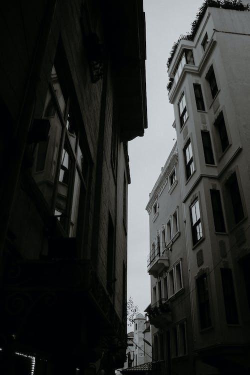 Old masonry building facades on city street