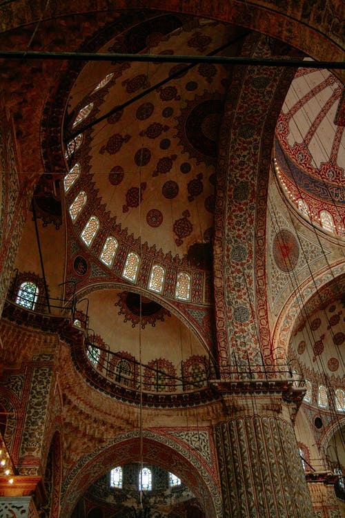 Interior of Blue Mosque with ornamental wall
