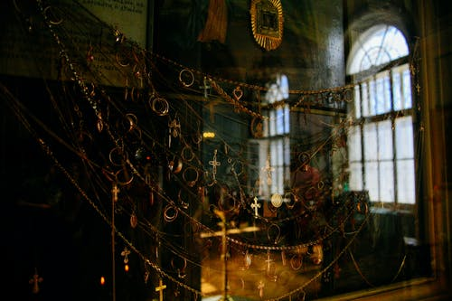 Collection of golden crosses in old cathedral