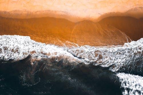 Foamy sea washing wet sandy shore