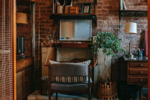 Interior of stylish work zone in cozy apartment