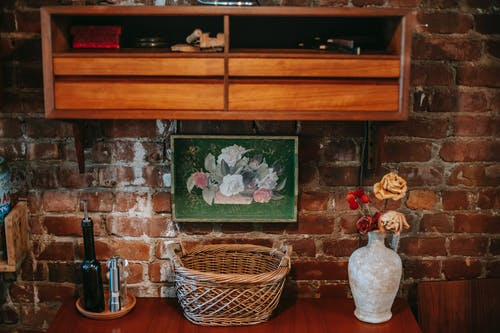 Vintage room with wooden furniture and flowers