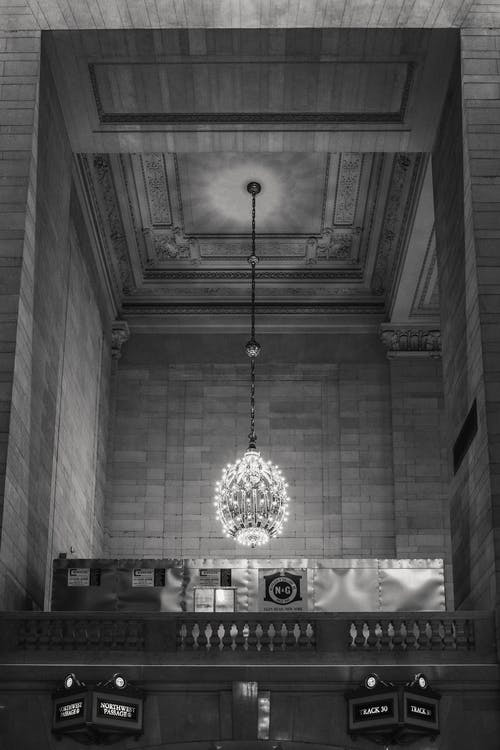 Classic interior of building with majestic chandelier