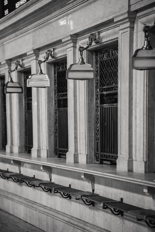 Classic railway station with ticket windows