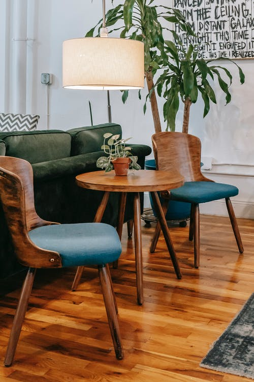 Creative wooden table and chairs placed near potted green palm and floor lamp in cozy light living room of comfortable apartment