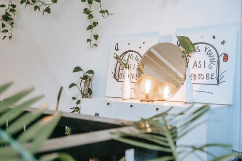 Shiny decorative lamp near mirror and signboards with inscriptions on commode near green plants in house