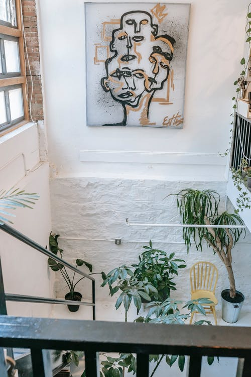 High angle stairway flight decorated with green potted houseplants and creative painting on white wall in light mansion