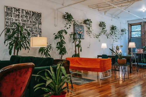 Interior of modern coworking room with cozy sofas