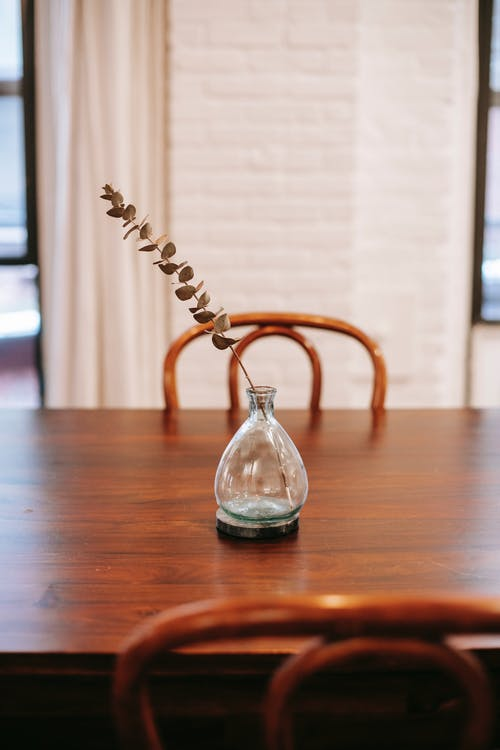 Transparent crystal glass bottle with dried branch placed on wooden table in cozy apartment