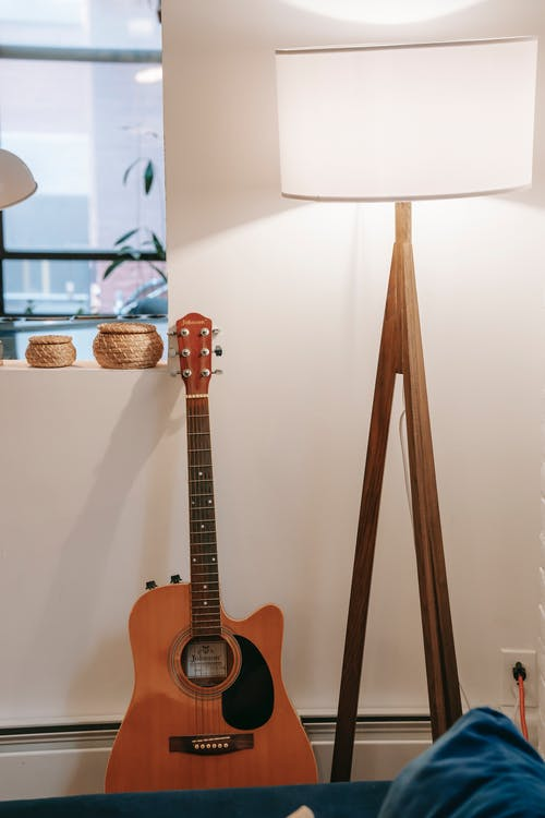 Classical guitar near potted plants on windowsill and shiny floor lamp in house room