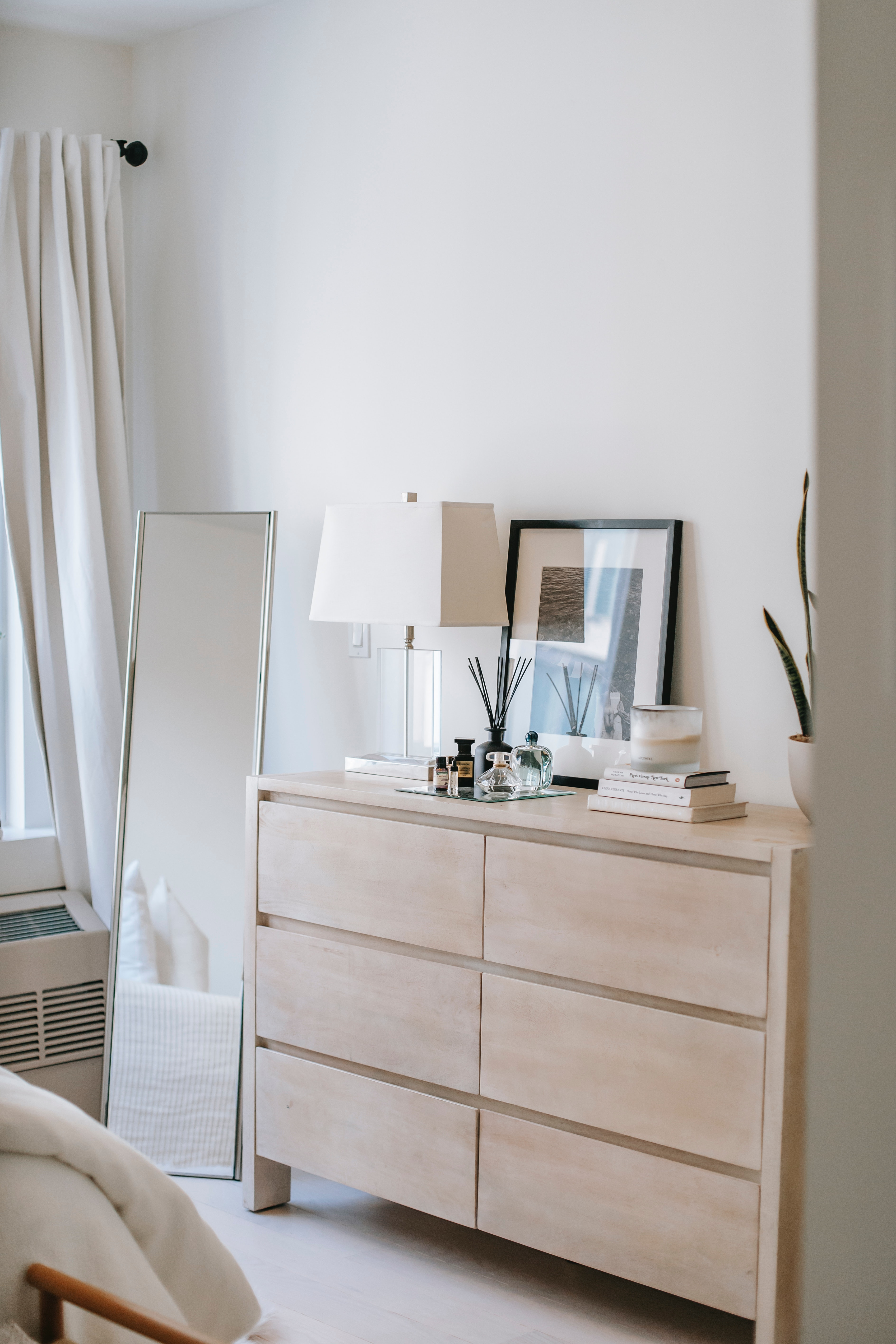 Bedroom Interior With Commode And Mirror In House Free Stock Photo