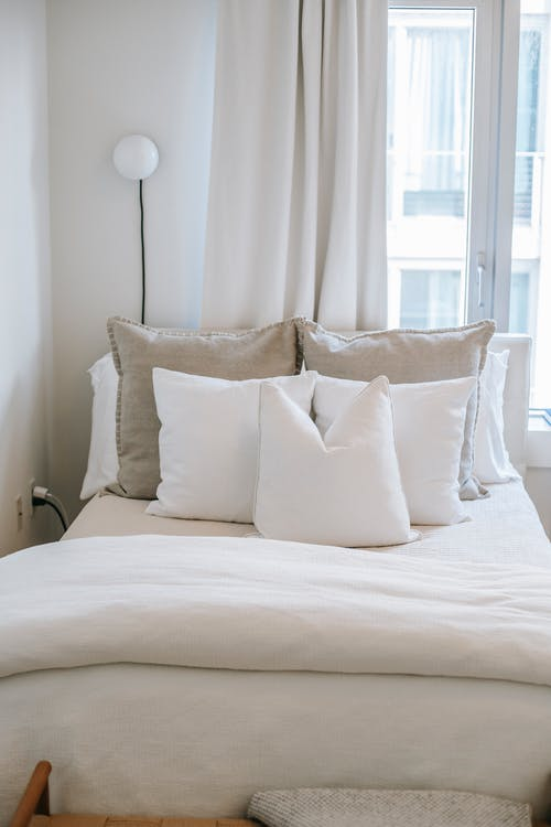 Bedroom interior with soft blanket and decorative cushions on bed at home in daylight