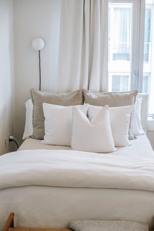 Gemütliches Bett Mit Kissen In Der Nähe Des Fensters Im Haus