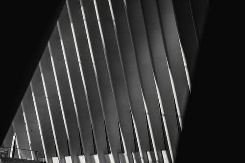 Black and white of glowing geometric roof with identical straight vertical beams in row in building
