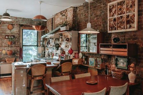 Współczesna Stylowa Kuchnia I Strefa Jadalna W Przestronnym Domu