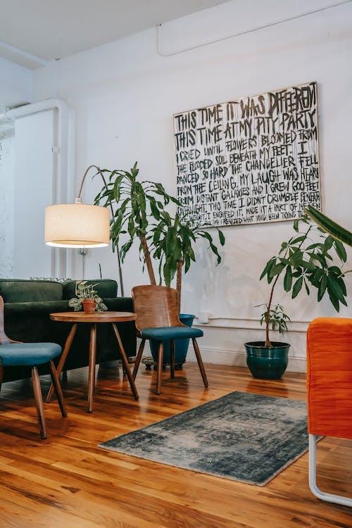 Przytulne Wnętrze Salonu Z Drewnianymi Meblami