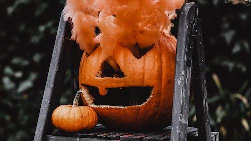 Orange Jack O Lantern with Orange Smoke