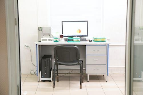 Modern medical equipment near samples in lab