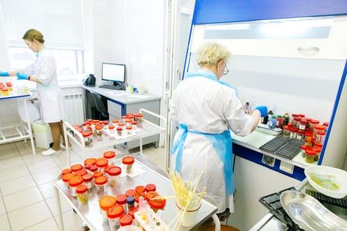 Women scientists checking samples in lab near computer and medical equipment and wearing medical uniform and gloves