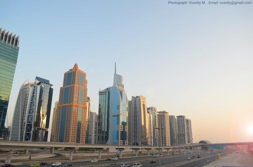 Free stock photo of buildings of city, dubai marina, highway