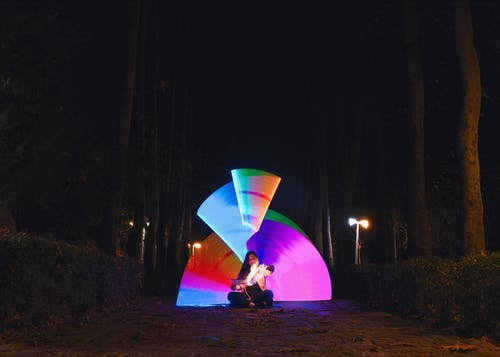 Free stock photo of colorful, forest, light, light painting