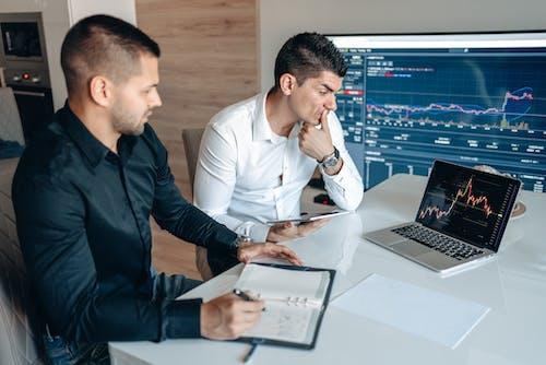 Men Looking at Diagram on Laptop