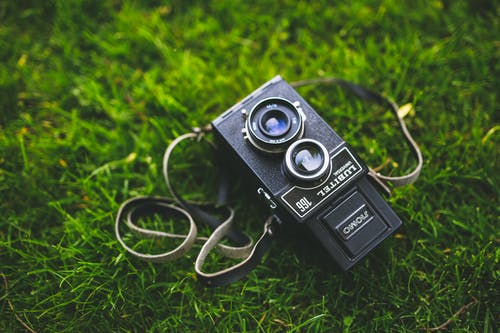 Old camera on the grass