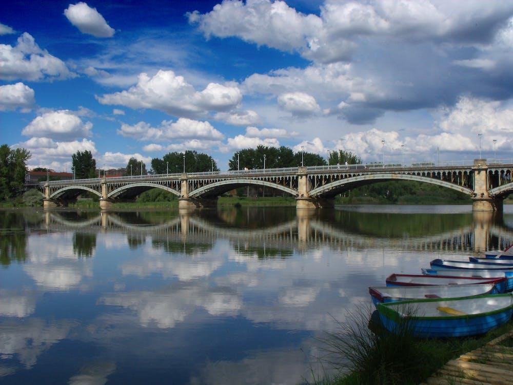 Free stock photo of blue, boat, bridge