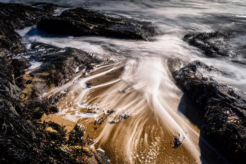 From above of foamy waves of powerful ocean washing sandy beach with rocky formations and seaweed on sunny day