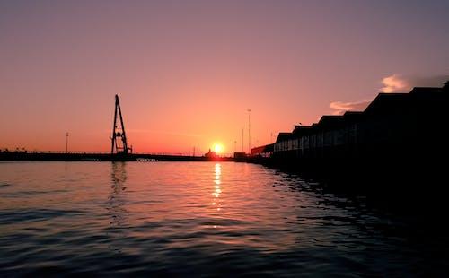 Free stock photo of evening sun, harbor