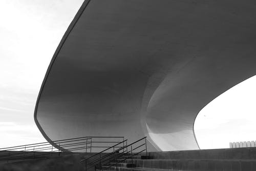 Concrete Roof in Grayscale Photo