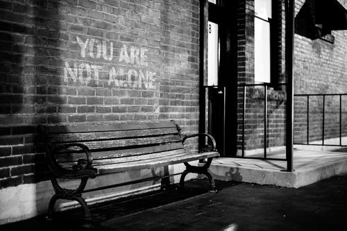 Black and white of empty wooden bench near brick wall of building with inscription you are not alone