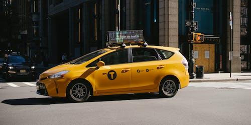 Taxi car on asphalt road