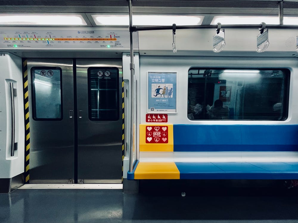 White Blue and Yellow Train