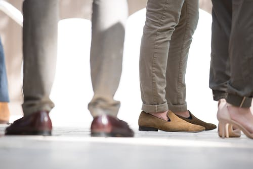 Person Wearing Brown Shoes