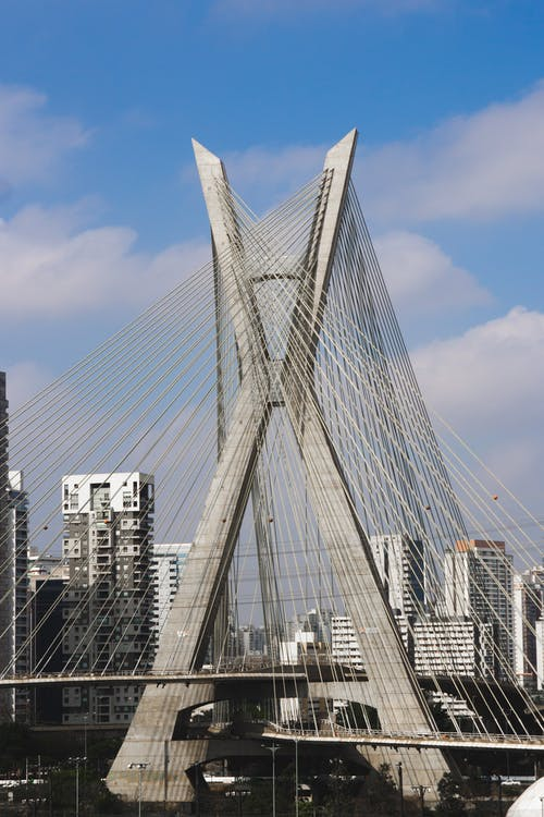 White Bridge over City Buildings